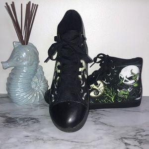 Used, Jack Skellington Custom Print Canvas Sneakers Sz 6NWT for sale
